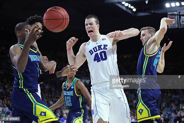 Marshall Plumlee of the Duke Blue Devils reacts in the second half against the North CarolinaWilmington Seahawks during the first round of the 2016...