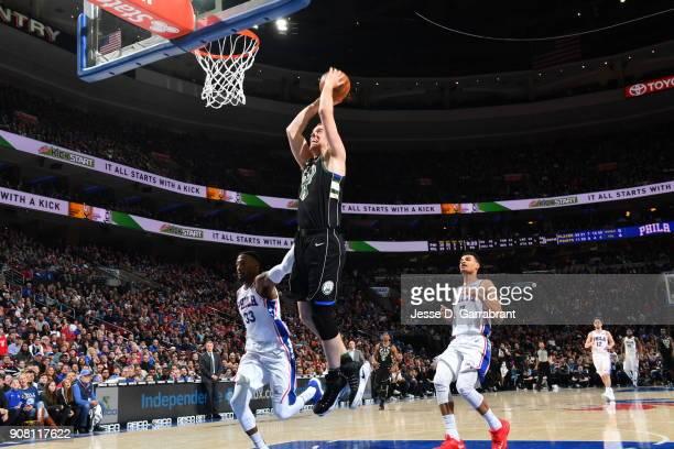 Marshall Plumlee of the Milwaukee Bucks dunks the ball against the Philadelphia 76ers at Wells Fargo Center on January 20 2018 in Philadelphia...