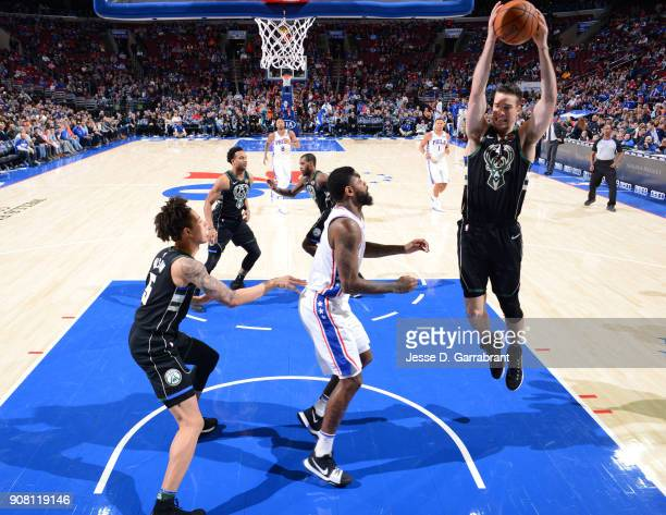 Marshall Plumlee of the Milwaukee Bucks grabs the rebound against the Philadelphia 76ers at Wells Fargo Center on January 20 2018 in Philadelphia...