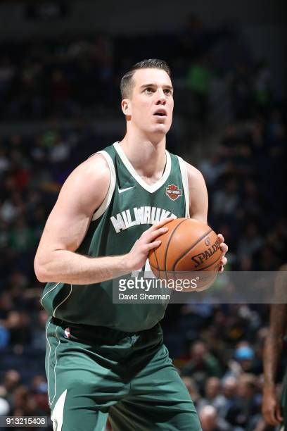 Marshall Plumlee of the Milwaukee Bucks handles the ball against the Minnesota Timberwolves on February 1 2018 at Target Center in Minneapolis...