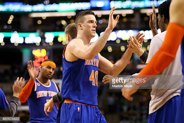 Marshall Plumlee of the New York Knicks celebrates with teammates during the fourth quarter against the Boston Celtics during the second half at TD...