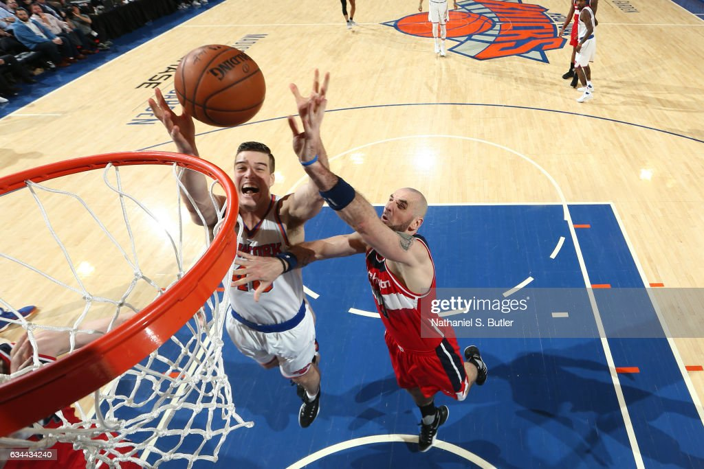 Marshall Plumlee #40 of the New York Knicks goes up for a rebound against Marcin Gortat #13 of the Washington Wizards during a game on January 19, 2017 at Madison Square Garden in New York City, New York.
