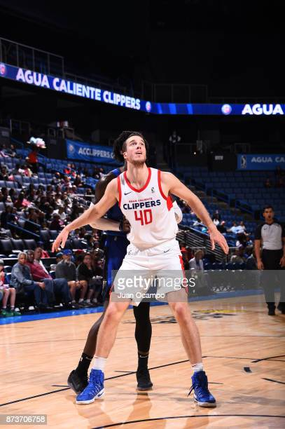Marshall Plumlee of the Texas Legends prepares for the rebound against the Agua Caliente Clippers in Ontario on November 10 2017 at Citizens Business...