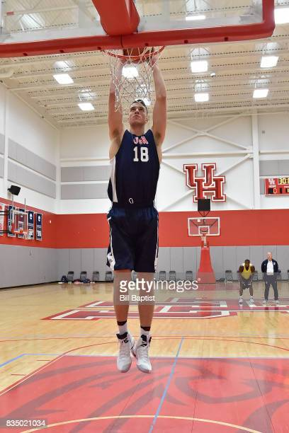Marshall Plumlee of the USA AmeriCup Team dunks the ball during a training camp at the University of Houston in Houston Texas on August 17 2017 NOTE...