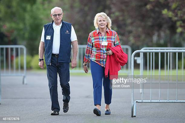 Marshall Rose, chairman of Georgetown Group Inc., and actress Candice Bergen arrive for the morning session at the Allen & Company Sun Valley...