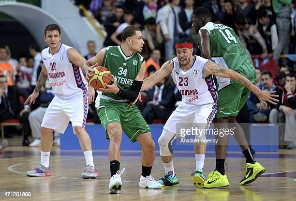 Marshall Sean of Trabzonspor Medical Park vies for ball with Weems Kyle of Nanterre during the FIBA EuroChallenge Final Four basketball match between...