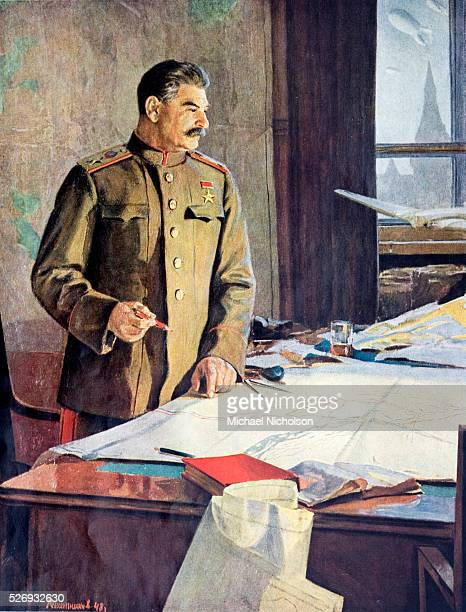 Marshall Stalin. Joseph Vissarionovich Stalin was the Premier of the Soviet Union from 1941 up to his death in1953. Depicted here in about 1944 as...