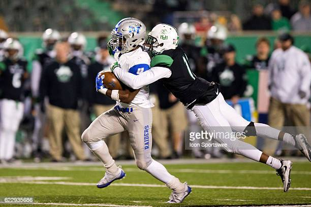 Marshall Thundering Herd DB Rodney Allen makes a tackle on Middle Tennessee Blue Raiders RB I'Tavius Mathers during the third quarter of the quarter...