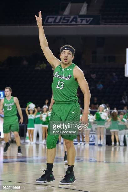 Marshall Thundering Herd guard Jarrod West celebrates a three point shot during the Conference USA Basketball Championship game between the Western...