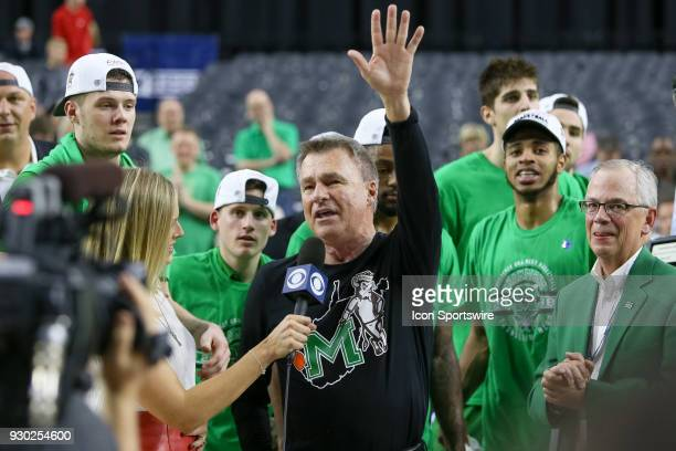 Marshall Thundering Herd head coach Dan D'Antoni addresses the fans after winning the Conference USA Basketball Championship game between the Western...