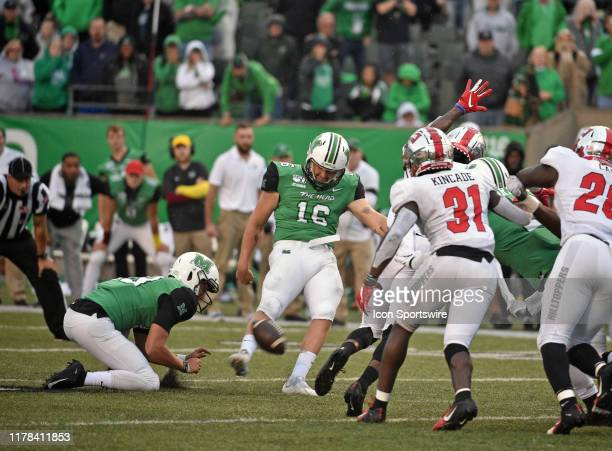 Marshall Thundering Herd place kicker Justin Rohrwasser kicks the game winning field goal as time expires during a college football game between the...