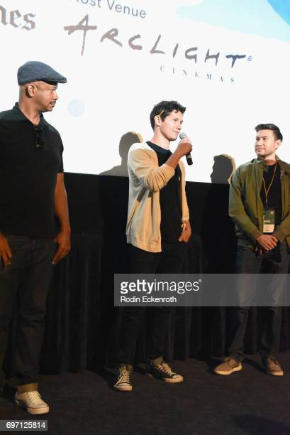 Marshall Tyler Matt Chute and Matt ChuteToby Louie speak onstage at Shorts Program 1 during the 2017 Los Angeles Film Festival at Arclight Cinemas...