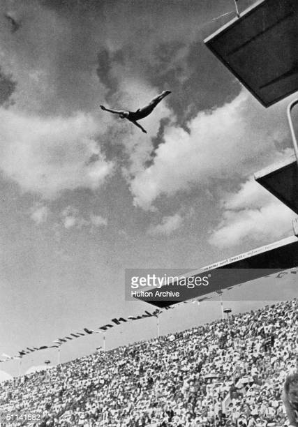 Marshall Wayne of the USA takes a dive at the Berlin Olympics 1936 Marshall won the gold medal in the event