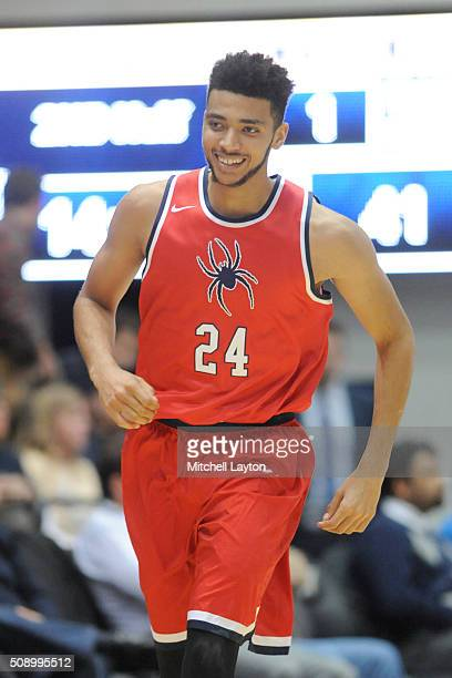 Marshall Wood of the Richmond Spiders walks up court during a college basketball game against the George Washington Colonials at the Smith Center on...