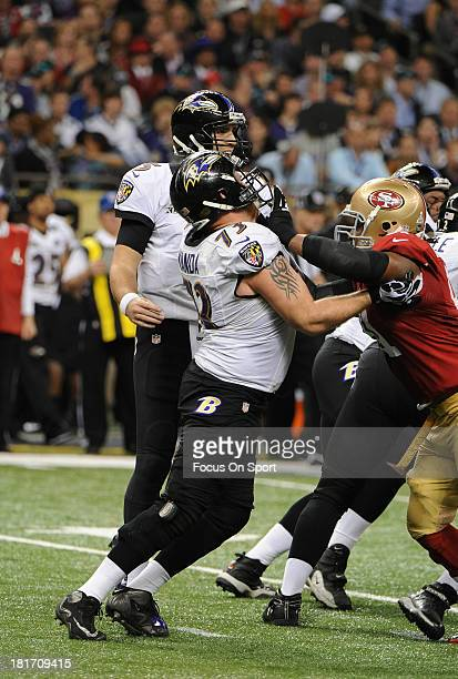 Marshall Yanda of the Baltimore Ravens blocks for quarterback Joe Flacco against the San Francisco 49ers during Super Bowl XLVII at the MercedesBenz...
