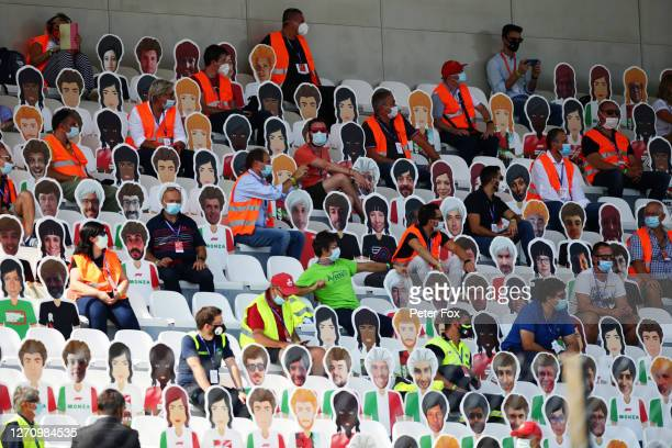 Marshalls are seen in the stands with cardboard cut outs of fans prior to the F1 Grand Prix of Italy at Autodromo di Monza on September 06, 2020 in...