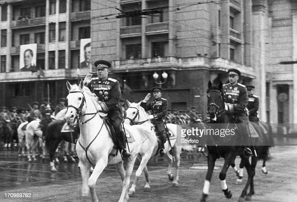 Marshals georgy zhukov and k, rokossovsky riding across red square prior to the victory parade on june 24, 1945.