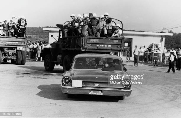 Marshals in army vehicles pour into the University of Mississippi campus in Oxford, Mississippi, during the Ole Miss Riot Of 1962, also known as the...