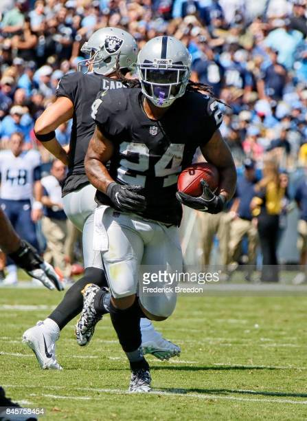 Marshawn Lynch of the Oakland Raiders plays against the Tennessee Titans at Nissan Stadium on September 10 2017 in Nashville Tennessee