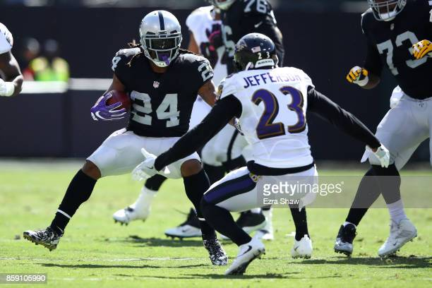 Marshawn Lynch of the Oakland Raiders rushes against the Baltimore Ravens during their NFL game at OaklandAlameda County Coliseum on October 8 2017...