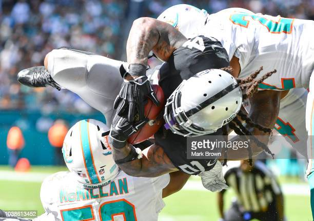 Marshawn Lynch of the Oakland Raiders rushes in for a touchdown during the third quarter against the Miami Dolphins at Hard Rock Stadium on September...