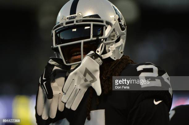 Marshawn Lynch of the Oakland Raiders warms up prior to their game against the Dallas Cowboys at OaklandAlameda County Coliseum on December 17 2017...