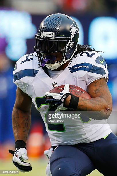 Marshawn Lynch of the Seattle Seahawks in action against the New York Giants at MetLife Stadium on December 15 2013 in East Rutherford New Jersey The...