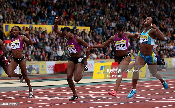 Marshevet Myers of the USA wins the Womens 100 metres during the Aviva London Grand Prix at Crystal Palace on August 14, 2010 in London, England.