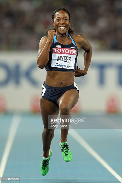 Marshevet Myers of United States competes in the women's 100 metres semi finals during day three of the 13th IAAF World Athletics Championships at...
