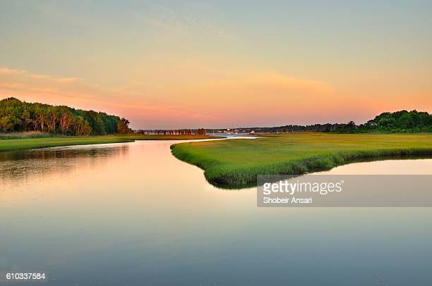 marshland sunrise, jamestown rhode island - salt_marsh stock pictures, royalty-free photos & images