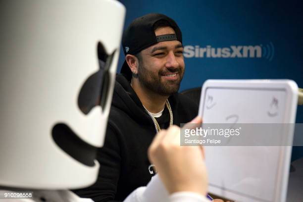 Marshmallow and manager Moe Shalizi visit SiriusXM Studios on January 25 2018 in New York City