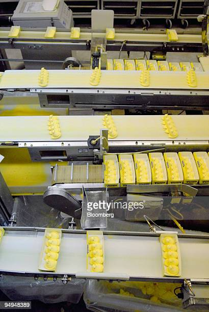 Marshmallow candy Peeps chicks move down a conveyor belt to be boxed and shipped inside the Just Born Inc manufacturing facility in Bethlehem...