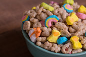 Marshmallow Cereal on Weathered Wood
