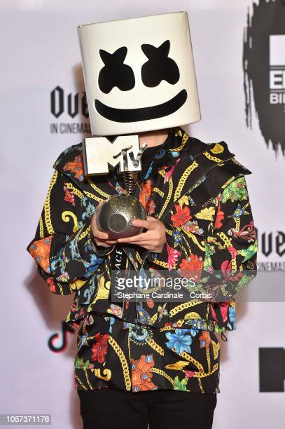 Marshmallow poses in the Winners room after winning the Best Electronic award during the MTV EMAs 2018 on November 4 2018 in Bilbao Spain