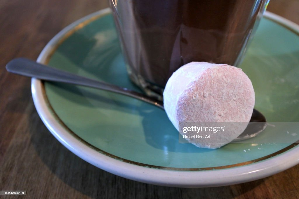 Marshmallow Served with Mochachino Coffee : Stock Photo
