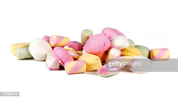 marshmallows - pile of candy stock photos and pictures