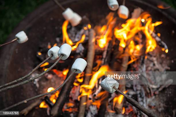 Marshmallows Roasting On An Open Fire Pit