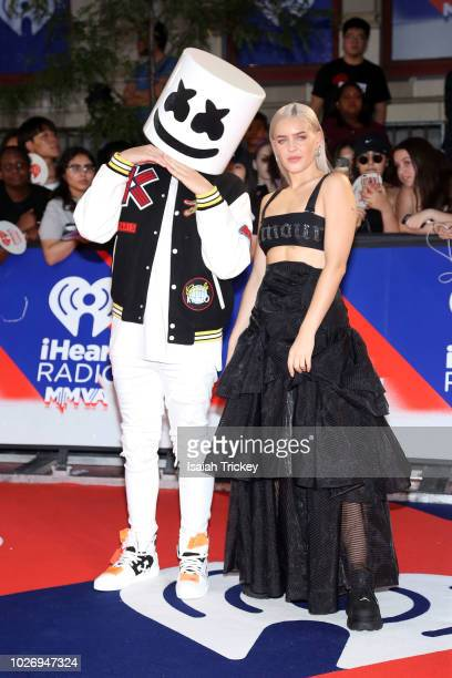 Marshmello and AnneMarie arrive at the 2018 iHeartRadio MuchMusic Video Awards at MuchMusic HQ on August 26 2018 in Toronto Canada