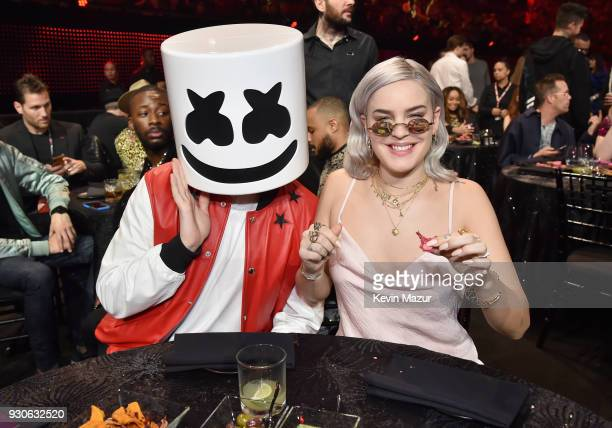 Marshmello and AnneMarie attend the 2018 iHeartRadio Music Awards which broadcasted live on TBS TNT and truTV at The Forum on March 11 2018 in...