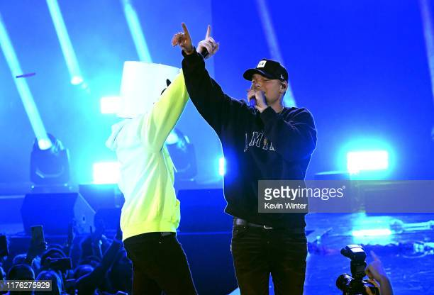 Marshmello and Kane Brown perform onstage during the 2019 iHeartRadio Music Festival at TMobile Arena on September 21 2019 in Las Vegas Nevada