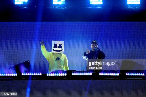 Marshmello and Kane Brown perform onstage during the 2019 iHeartRadio Music Festival at T-Mobile Arena on September 21, 2019 in Las Vegas, Nevada.