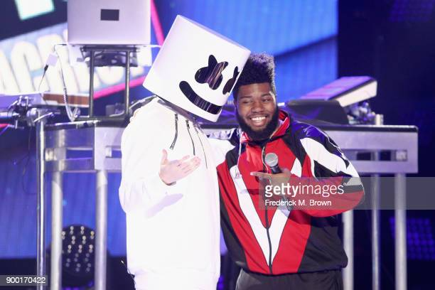 LOS ANGELES CA DECEMBER 31 Marshmello and Khalid perform onstage during Dick Clark's New Year's Rockin' Eve with Ryan Seacrest 2018 on December 31...