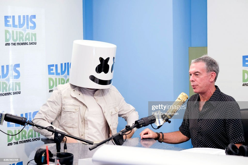Marshmello and radio host Elvis Duran on air during 'The Elvis Duran Z100 Morning Show' at Z100 Studio on August 21, 2017 in New York City.