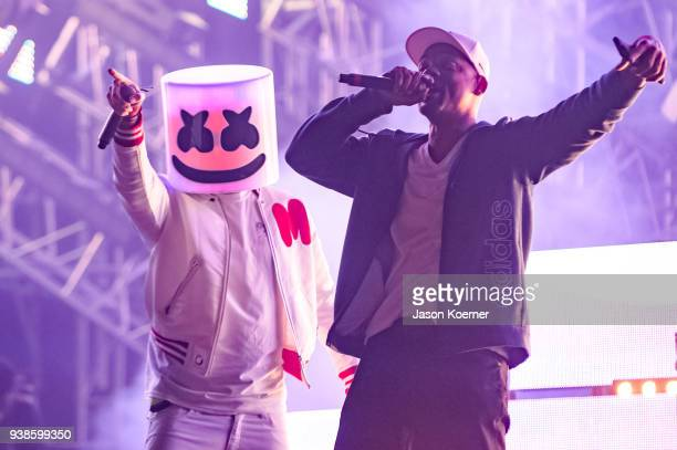 Marshmello And Will Smith Perform On Stage During Ultra Music Festival 2018 At Bayfront Park