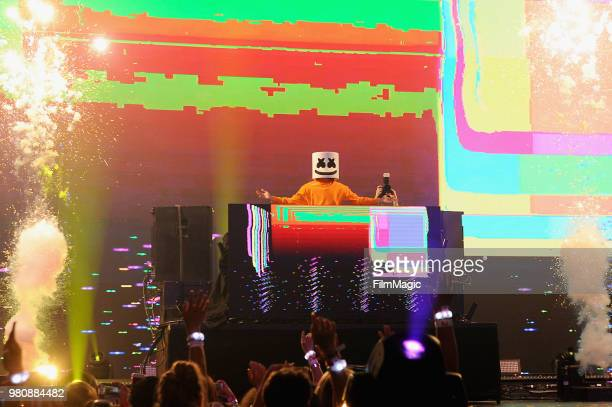 Marshmello appears at YouTube OnStage during VidCon at the Anaheim Convention Center Arena on June 21 2018 in Anaheim California
