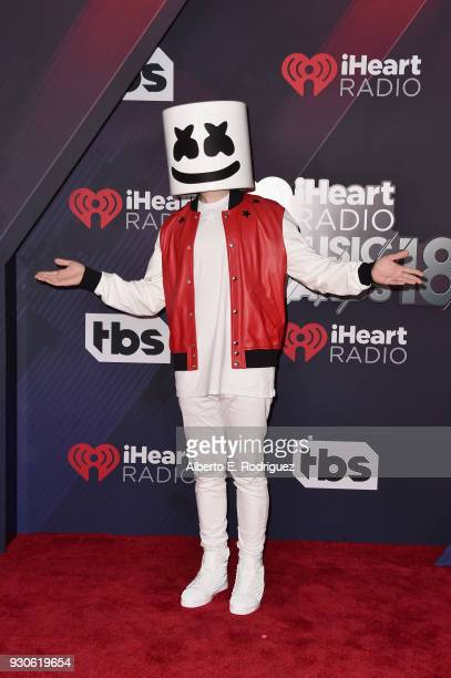 Marshmello arrives at the 2018 iHeartRadio Music Awards which broadcasted live on TBS TNT and truTV at The Forum on March 11 2018 in Inglewood...
