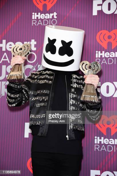 Marshmello attends 2019 iHeartRadio Music Awards press room during the 2019 iHeartRadio Music Awards which broadcasted live on FOX at Microsoft...
