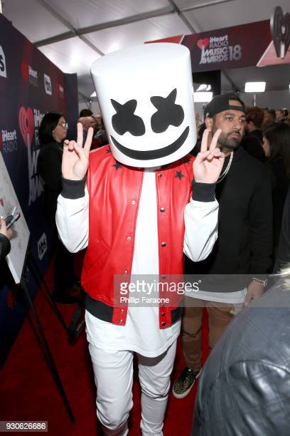 Marshmello attends the 2018 iHeartRadio Music Awards which broadcasted live on TBS TNT and truTV at The Forum on March 11 2018 in Inglewood California