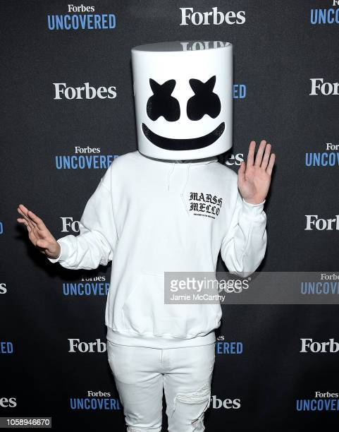 Marshmello attends the Forbes Undercover Special Issue Revealat Forbes on Fifth on November 7 2018 in New York City