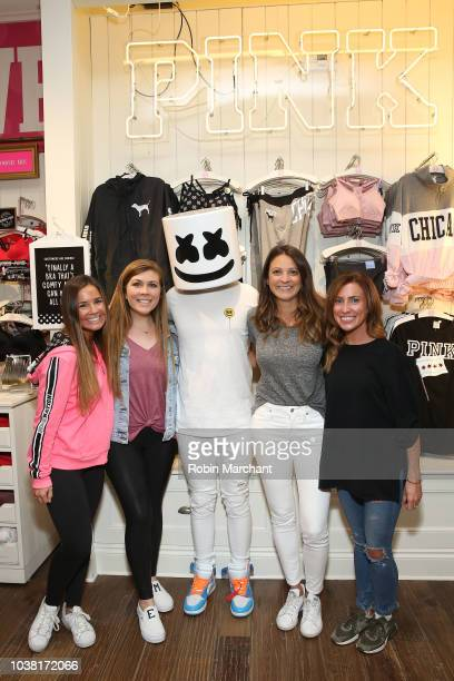 Marshmello attends Victoria's Secret PINK And Marshmello Team Up For 'PINK Loves Chicago' event on September 22 2018 in Chicago Illinois